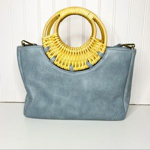 Anthropologie Blue Faux Leather Bag Wicker Handles